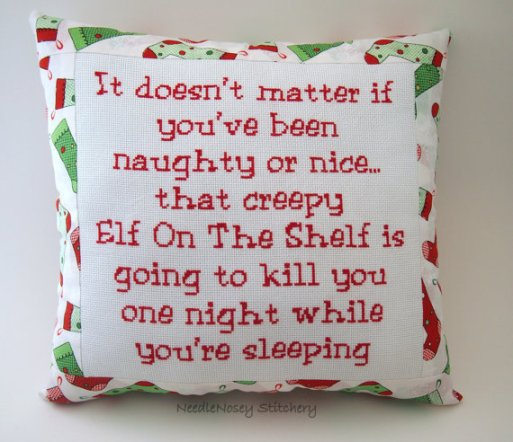 Visit here to own this pillow: http://wanelo.com/p/2172633/funny-cross-stitch-christmas-pillow-red-white-and-green-pillow-elf-on-the-shelf-quote