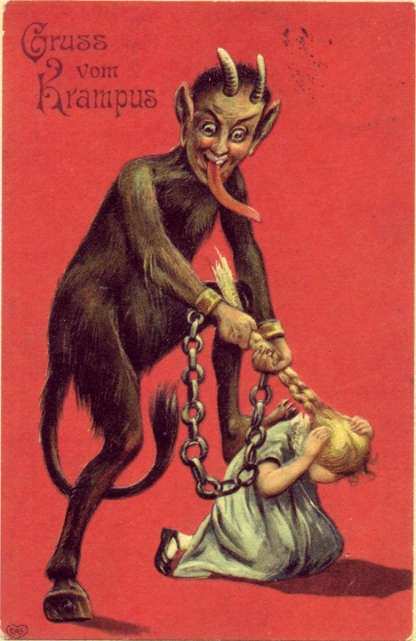 Disturbing Image of Krampus in Action