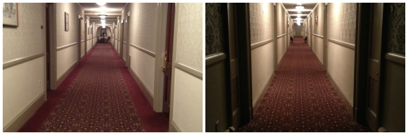 The hallways are long and narrow. The lighting adds to a creepy vibe.