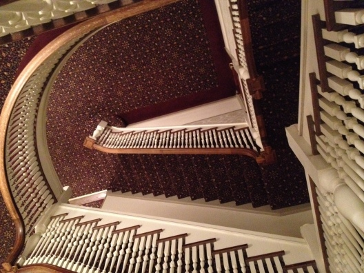 Looking down the stairs, slightly disorienting.